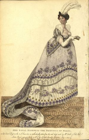 Publisher, John Bell. Caption on image: Her Royal Highness the Princess of Wales in her court dress on the fourth of June, 1807, as authentically taken from the real dress by Mrs. Webb of Pall Mall. London. Printed for the 18 no. of the La Belle Assemblee, published July 1, 1807 by John Bell, Weekly Messenger Office, Southampton Street, Strand..