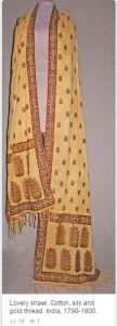 India shawl made of cotton, silk, and gold thread. 1790-1800, Napoleon-fashion.com