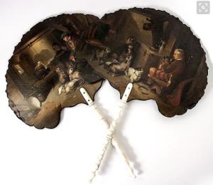 Antique English Papier Mache Face Screen Pair (Fan), Oil Painting in E. Landseer Highlander Hunt Genre, Kilt & Dog, Ruby Lane