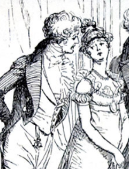 Hugh Thomson illustration of Mr. Bingley entering the Meryton Assembly Ball with his guests