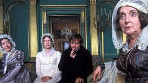 Image of the Colinses visiting Lady Catherine de Bourg, 1995 Pride and Prejudice film
