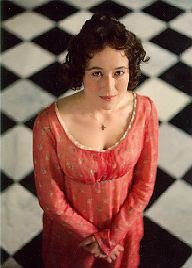 Image of Jennifer Ehle as Elizabeth Bennet falling for Mr. Darcy at Pemberley, 1995 film of Pride and Prejudice