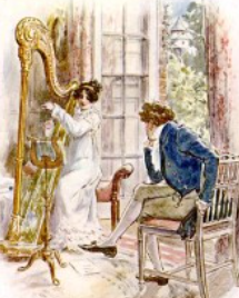 Image of Mary Crawford playing harp-C.E.Brock