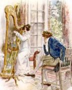 Image of Mary Crawford playing harp-C.E.Brock