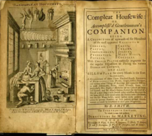 Image of the fronticepiece and title of the Compleat Housewie or Accomplished Gentlewoman's Companion