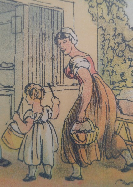 A young girl and a maid of all work. Notice that bishop sleeves are used by young and old, as well as the working classes. Image by Vic Sanborn from a print owned by Vic Sanborn