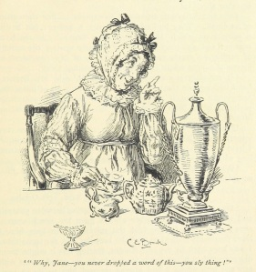 Mrs. Bennet, from the 1985 edition of Pride and Prejudice, illustrated by Hugh Thomson and published by Macmillan & Co