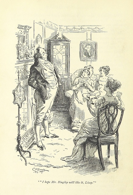 Royalty free image of Mr. Bennet by illustrator Hugh Thomson