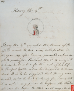Image of a page of the History of England by Jane Austen and illustrated by Cassandra Austen of Henry the 4th, the British Library