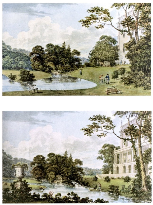 """6 Stoneleigh Abbey-Repton_s Red Book """"Before and After"""" (River Avo)"""