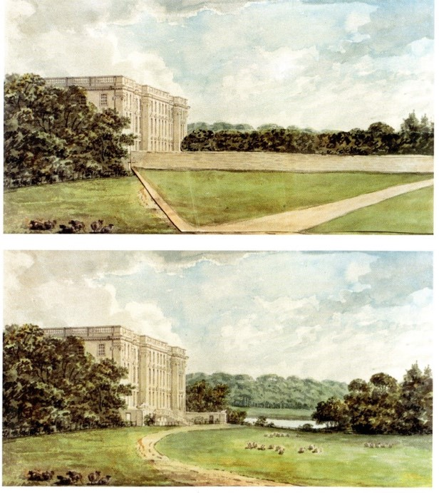 """7 Stoneleigh Abbey-Repton_s Red Book """"Before and After"""" (stone wall) (2)"""