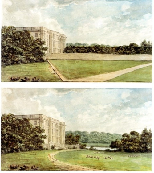 "7 Stoneleigh Abbey-Repton_s Red Book ""Before and After"" (stone wall) (2)"