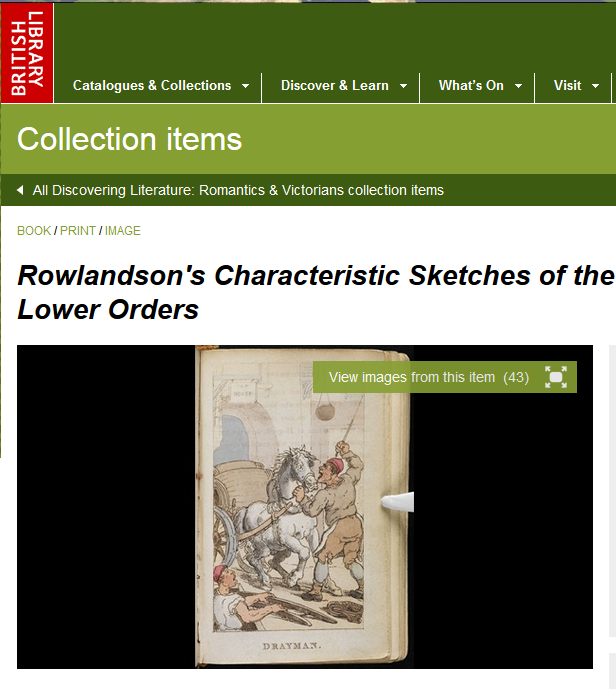 Landing page to Rowlandson's characteristic Sketches of the Lower Orders, intended as a companion to the New Picture of London, with an image of Drayman.