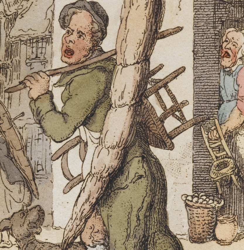 """Rowlandson's """"Chairs to Mend"""" detail of man, dog, and potential customer"""