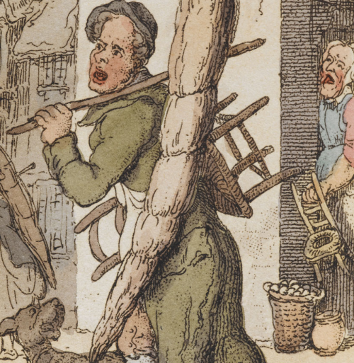 "Rowlandson's ""Chairs to Mend"" detail of man, dog, and potential customer"