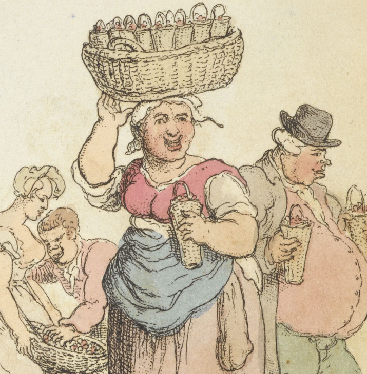 """Detail of """"Strawberries"""" from Rowlandson's characteristic Sketches of the Lower Orders, intended as a companion to the New Picture of London"""