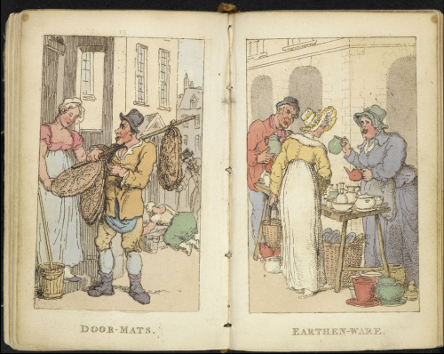 Two pages in Rowlandson's characteristic Sketches of the Lower Orders, intended as a companion to the New Picture of London, depicting Door-Mats seller and Earthen-ware seller.