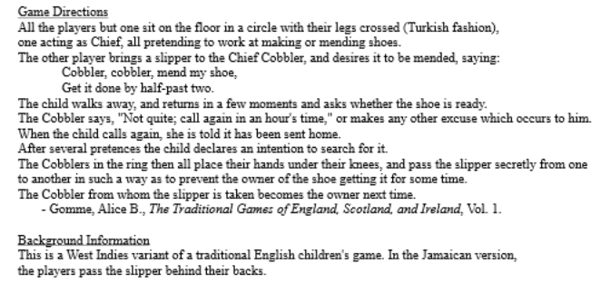 Game directions for Hunt the Slipper