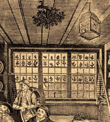 Detail of sprigs of ivy in window, Bowles and Carver print, London. Circa 1775