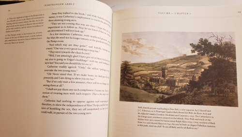 Image of Pages 112 and 113 with Jane Austen's text, annotations, and an image of Bath from a private road leading to Prior Park.