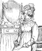 Cropped illustration of Mrs. Bennet by Hugh Thompson
