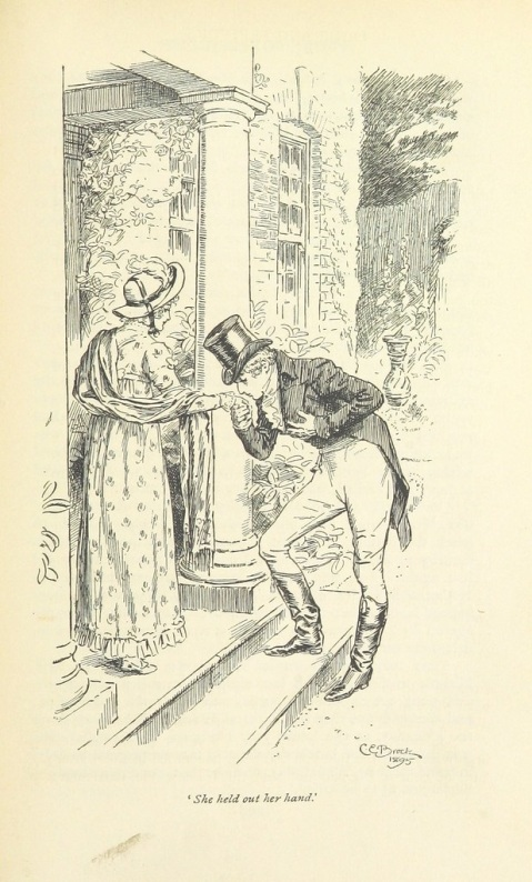 "Elizabeth and Mr. Wickham."" Pride and Prejudice illustration by C.E. Brock (1895), British Library."