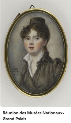 Miniature of Portrait of young woman, bust, wearing a gray-brown dress. Reunion des Musees Nationaux-Grand Palais, Adele Laplatte,1809