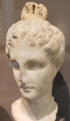 Head of a Maiden With Lampadion Hairstyle. Greek, 3rd-2nd century. Marble B.C. Statue