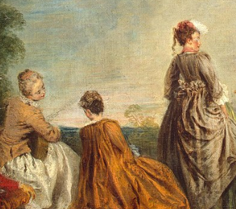 An Embarrassing Proposal, Antoine Watteau , 1715-16,