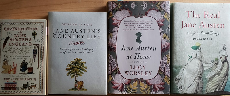 Book covers of Eavesdropping on Jane Austen's England; Jane Austen's Country Life; Jane Austen at Home; and The Real Jane Austen.