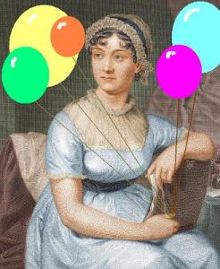 Image of Jane Austen holding balloons