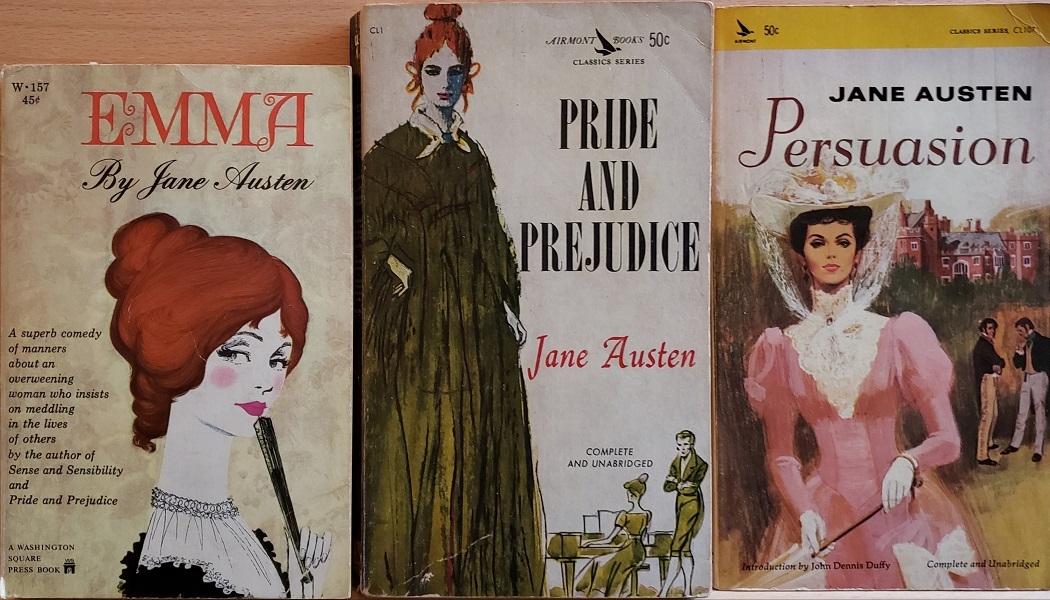 Book covers of Emma, 1964 Washington Square Press Book. Pride and Prejudice, 1962, Airmont Book Classic. Persuasion, 1966, An Airmont Classic.