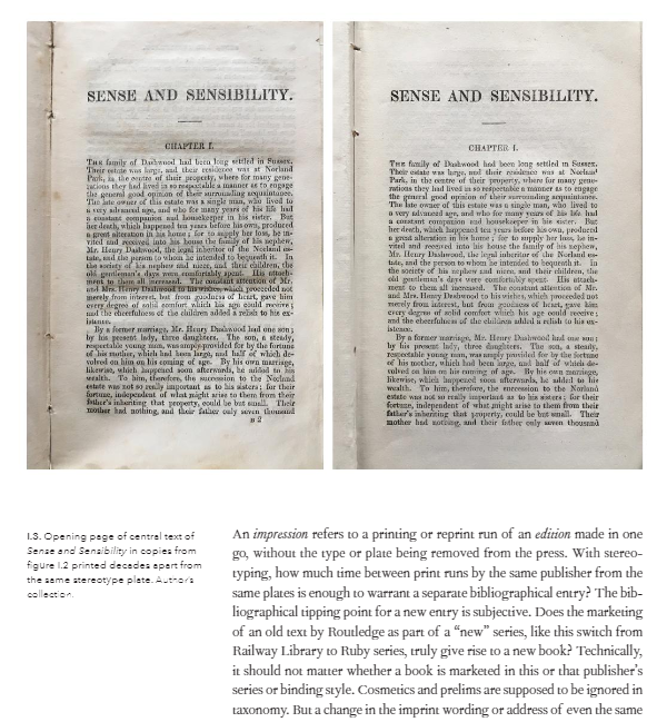 Sense and Sensibility comparison pages of books printed decades apart from the same stereotype plate