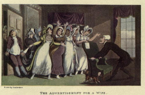 The Advertisement for a Wife, illustration by Thomas Rowlandson. Internet Archive