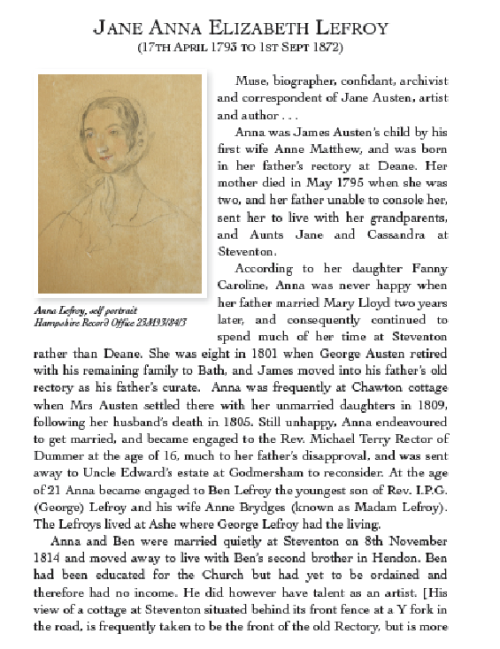 Jane Lefroy's biography pages by Chris Brindle in his book Hampshire, Vol 2, pp. 72-73. Image courtesy of Chris Brindle. His book is available via Amazon.