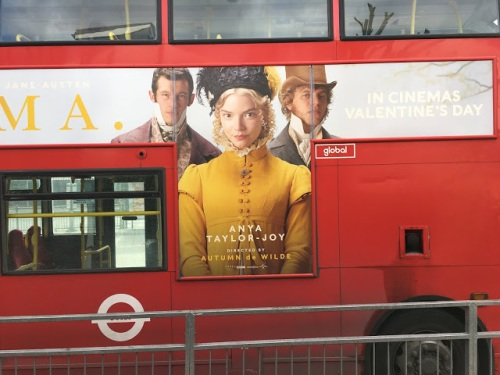 Emma film poster on a London bus. Photo courtesy of Tony Grant