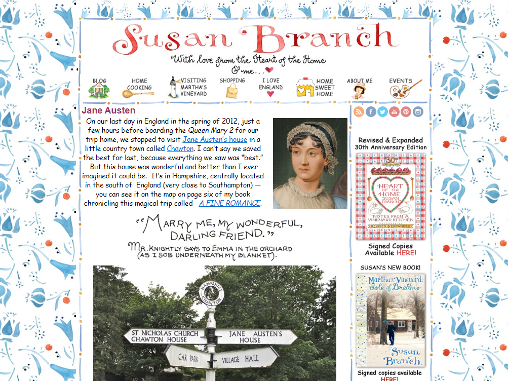 Image of Susan Branch's blog and post of her journey to Chawton Cottage