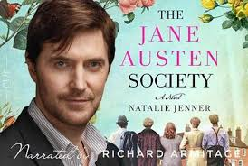 Image of Richard Armitage, narrator of the audio book, with the book cover of The Jane Austen Society in the background.