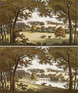 Water at Wentworth, Humphry Repton. The second image shows the improvements to the scene