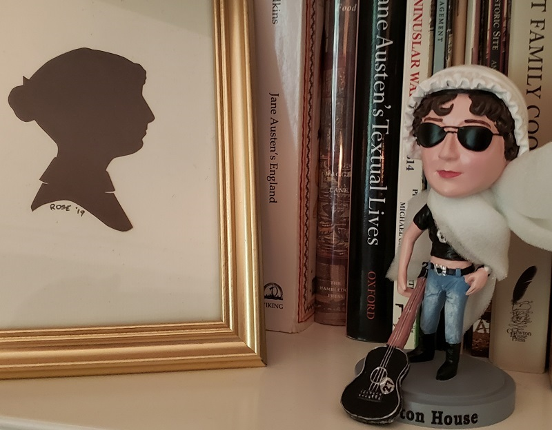 Image of Bad Ass Jane meeting her 18th century silhouette, as drawn by Mr. Rose at the 2019 AGM in Williamsburg