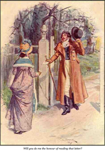 Image of Elizabeth and Darcy: After Elizabeth receives Darcy's letter, she walks alone for two hours to consider what the truth is. C. E. Brock illustration of Pride and Prejudice, public domain.