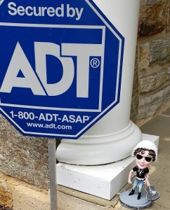Image of BAJ posing with an American security sign