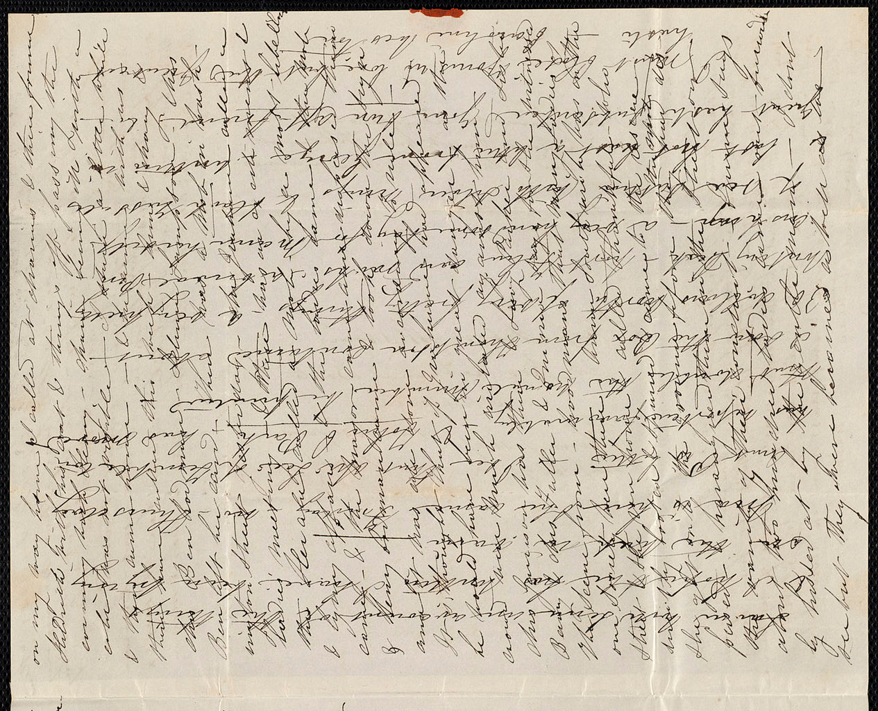 Example of a cross written letter to save paper and postage, much as the Austens sent to each other. The recipient of the letter paid for the postage. Paper was saved by cross writing. Image in the public domain.