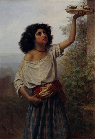 Painting of a young gypsy woman by Karlis Teodors Huns, 1870.