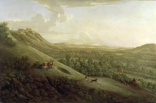 Image of A view of Boxhill, Surrey (with Dorking in the distance), George Lambert, 1733, Wikimedia Commons, Public Domain image.