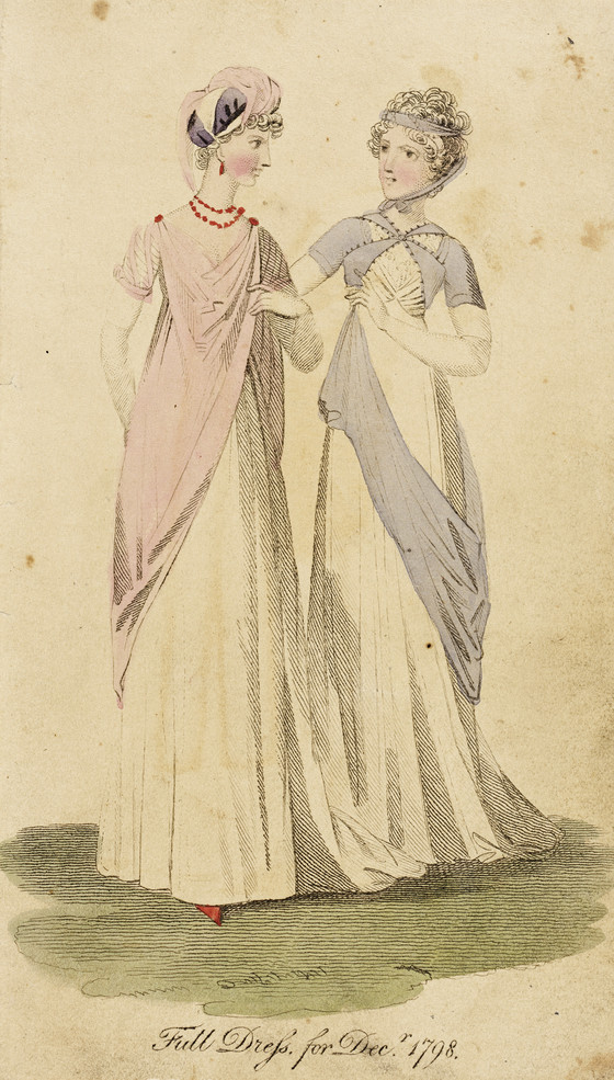 Fashion Plate, 'Full Dress for Decr. 1798' for 'Lady's Monthly Museum', LACMA (Los Angeles County Museum of Art)