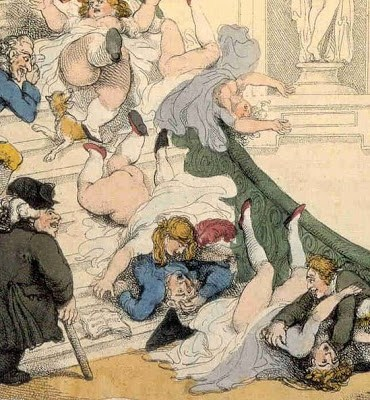 Closeup image of the Exhibition Stare Case by Thomas Rowlandson.