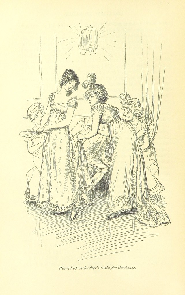 "Image of ""Pinned up each others trains"", Northanger Abbey illustration in the public domain, Hugh Thompson. British Library."