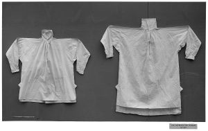 Public domain images from The Metropolitan Museum of Art of two early 19th century British men's shirts.