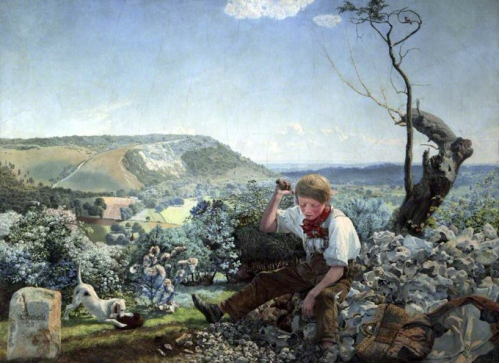 Image of The Stonebreaker by John Brett, exhibited 1858, Wikimedia Commons